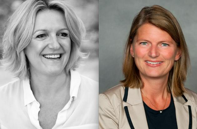 Cecilie Lindgren, leder i Asker Høyre og Lene Conradi, ordfører i Asker.