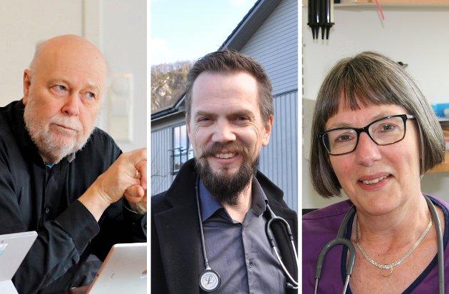 KOMMUNELEGAR: Hans Petter Torvik (frå venstre), Bjarte Sørensen og Anja de Jong har inntrykk av at innbyggarane i Sandnes, Hjelmeland og Strand forstår behovet for å gjera smitteverntiltaka som er gjort og takkar for forståinga innbyggarane viser.