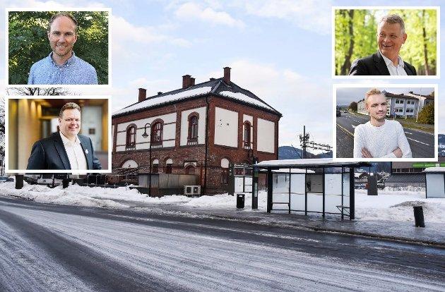 Gruppeledere Andreas Størdal (Venstre), Adrian Tollefsen (H), Trond Bermingrud (Frp) og  Kjell Erland Grønbeck (Krf).