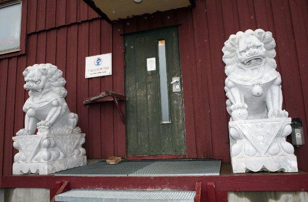 Løver i hvit marmor utenfor den kinesiske forskningsstasjonen i Ny-Ålesund på Svalbard.