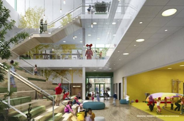 Ny barneskole: Slik skal inngangshallen i den nye barnesklen bli. Illustrasjon: Veidekke Entreprenør AS