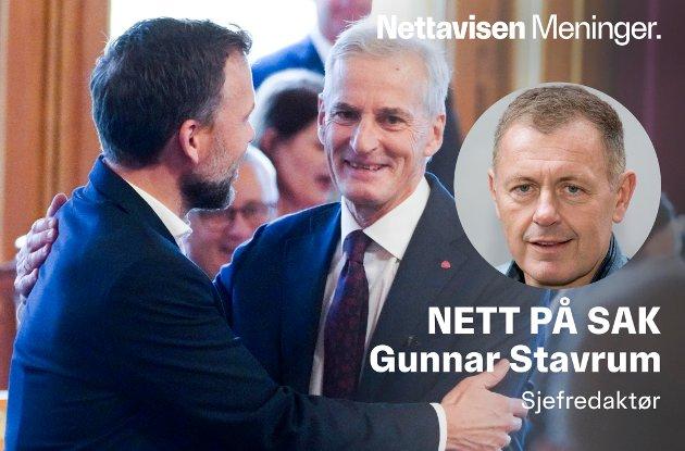 STATSMINISTER: Jonas Gahr Støre er i ferd med å tre frem som en statsminister som evner å manøvrere og tilpasse seg nye forutsetninger. Her sammen med SV-leder Audun Lysbakken i Stortinget.
