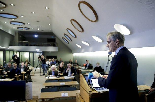 Ap leder Jonas Gahr Støre under fremleggelse av et tidligere budjsett i Stortinget. Foto: Vidar Ruud / NTB