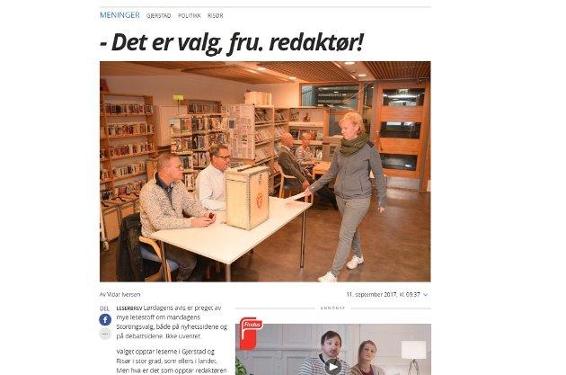Vidar Iversen kritiserer redaktør Linda Helgesen Aslaksen for hennes leder som sto på trykk i AAB, lørdag 9. september.