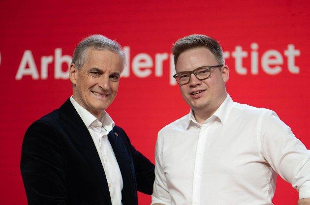 Statsministerkandidat Jonas Gahr Støre og fylkesordfører Even Aleksander Hagen.