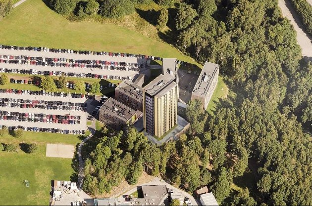 STUDENTBYEN: Dersom tårnbygget med totalt 209 studenthybler blir oppført, vil det være til sammen 500 boenheter på området.