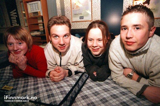 90-TALLET: Elever på allmennfaglig linje ved Lakselv videregående skole. Ingrid Brevik, Tom Erling Henriksen, Martine Smelror og Anders Ahlquist.