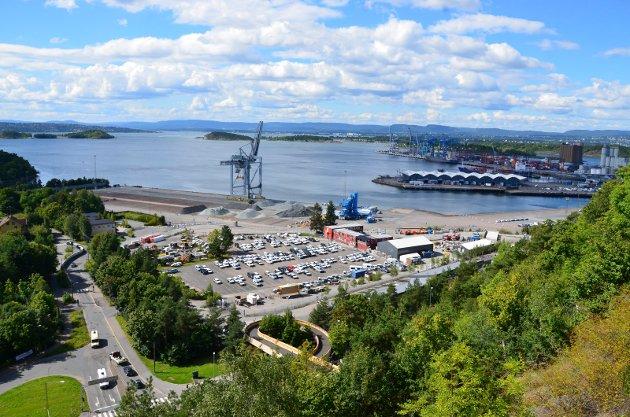 ORMSUND HAVN: Thor Harald Bjoervoll fra Trondheim forteller om deres erfaring med etablering av asfaltverk på havna og spør Ormsund-naboene om deres erfaring. Foto: Nina Schyberg Olsen