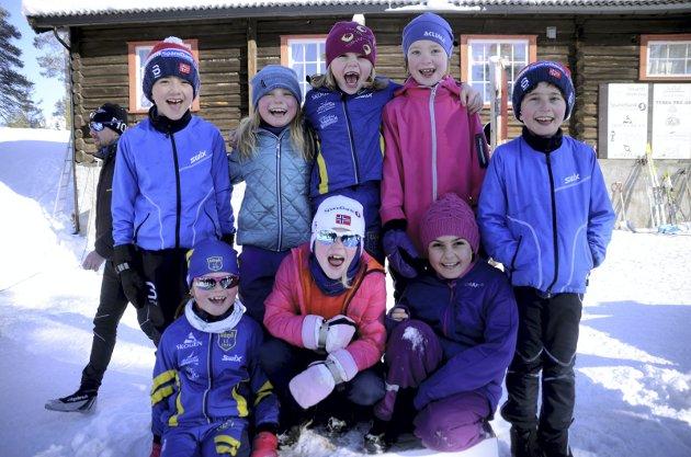 Skiglede: Eline Øyen, Helga Ramen, Maria Alsharabati, Calven Furuset, Tuuli Turunen, Sigrid Andersen- Gott, Ingrid Marie B. Sødal og Steven Furuset.