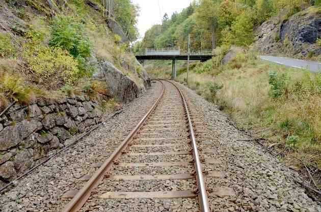 NEDLAGT: Fra den gamle jernbanetraseen ved Kjose
