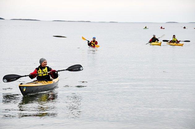 PADLEHELG: Omlag 40 lokale padlere storkoser seg på Toness Padlesymposium denne helga. Her Johanne Husum i ferd med å komme til til bacecamp på Tonnes-stranda etter en tur ut til Vikingen fredag kveld. Foto: Trond Isaksen