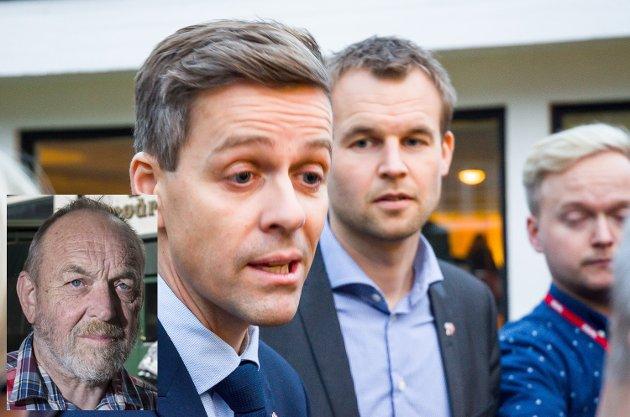 GULE: – Kristelig Folkeparti er ikke blå eller røde, de er gule, skriver Per Askilsrud i dette leserinnlegget. På bildet ser vi Knut Arild Hareide og andre nestleder Kjell Ingolf Ropstad.