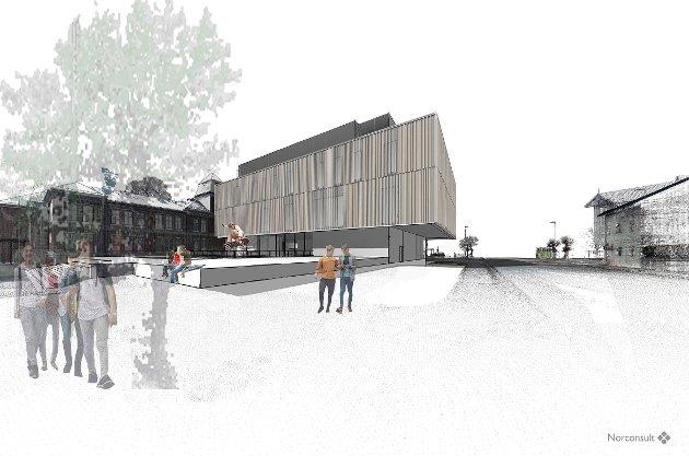 Slik er skisseforslaget til nye Ringerike videregående skole. Men har noen spurt byen, spør Høyre-duoen Inger Kammerud og Lise Bye Jøntvedt. Illustrasjon: Norconsult