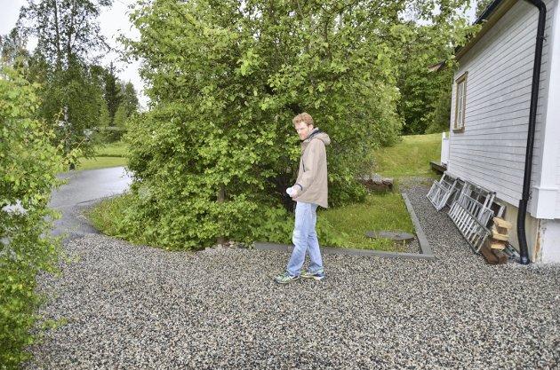 FORTAU: – Er jeg heldig så vil min nye tomtegrense gå omtrent her, sier Ole Østbakken. Kommunen vil tvangsinnløse deler av eiendommen hans og bygge fortau inntil en meter fra husveggen hans.