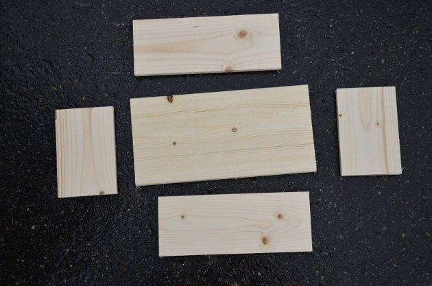 Dette trenger du for å bygge et insekthotell. Bakplate, sidevegger gulv og tak. Husk at materialene ikke må være imprignert eller malt.
