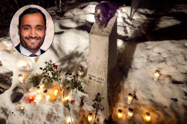 20 ÅR: «Vi må aldri glemme. Vi skal aldri glemme», skriver Ap-politiker Abdullah Alsabeehg (innfelt) om drapet på Benjamin Hermansen.