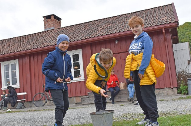 HESTESKO-KASTING: Brødrene Moritz, Emil og Gustav Volkmer tester ut hestesko-kasting på Lier Eplefestival. Brødrene synes at det er både gøy og litt slitsomt. - Dette er ikke første gang vi prøver det, vi har faktisk gjort det før, sier Moritz.