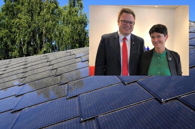 Solcelletak på alle skular er eitt av klimatiltaka Even A. Hagen og Aud Hove skriv om.