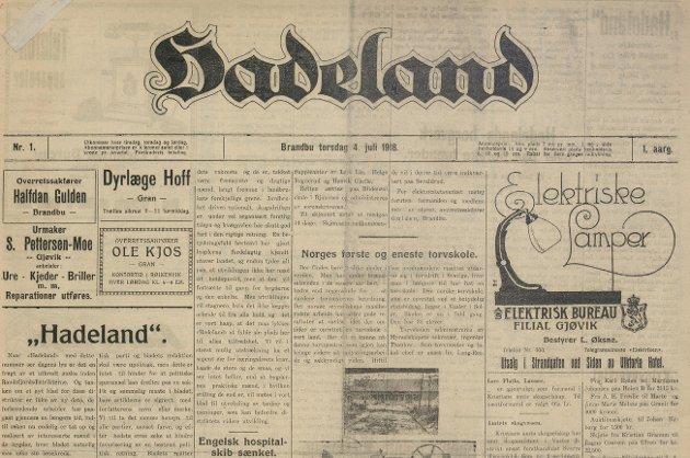 Den første utgaven av avisen Hadeland.