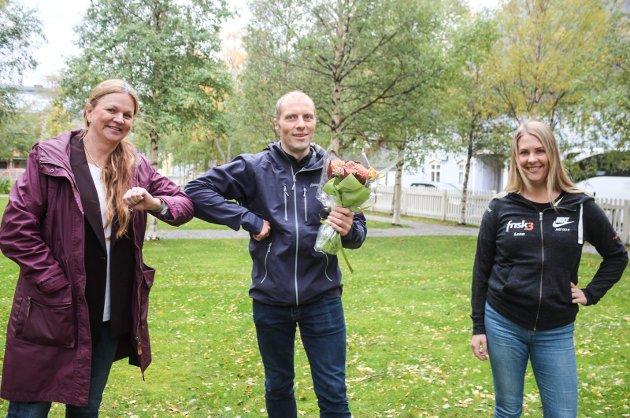 Premieutdeling Sommertrimmen 2020. Premieutdeling. Lena Aufles, Frisk 3, Ellen Strøm Brodtkorb, Helgelendingen og vinneren Freddy Sandvær