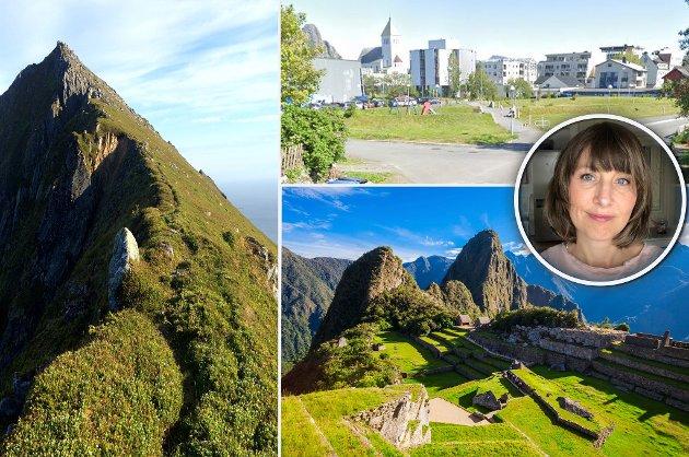 En lite kjent sti i Lofoten til venstre. Inkalandsbyen Machu Picchu nede til høyre, her går det en bilvei i sikksakk nedover fjellsida og en snarvei. Øverst til høyre er parken bak kjøpesenteret i Svolvær hvor det er tilrettelagt for å gå tvers over, noe folk sannsynligvis ville ha gjort uansett hvordan parken ble utforma.