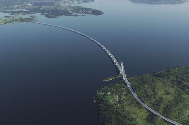Kryssing av Bjørnafjorden i nytt samband mellom Stord og Os til rundt 40 milliarder. Mer enn kostnaden for jernbane Narvik-Tromsø.
