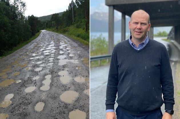 GODE VEIER: Gode fylkesveier handler ikke bare om asfaltert vei. Det handler om tuneller, rassikring, brøyting, merking, møteplasser på smale veier og ikke minst ferger. skriver Nils Ole Foshaug. Bildet er av fylkesveg 223 på Senja etter en regnskyll sommeren 2019.