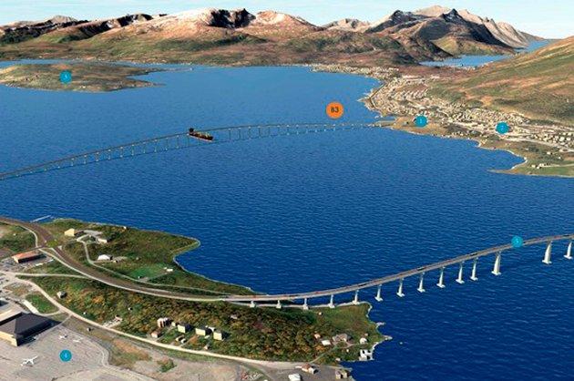 Statens vegvesen har laget skisser for ny trase over til Kvaløya. Denne løsning medfører bygging av ny bru.