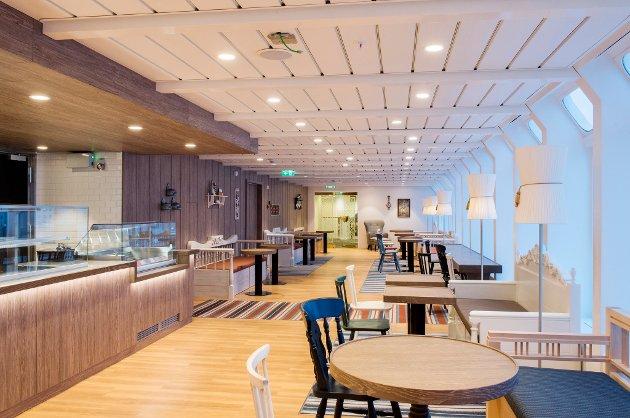 MS Kong Harlad etter rehabilitering 2016. Panorama Café