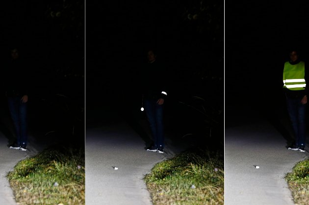 En kombinasjon av bilder som viser effekten av refleksbruk. Til venstre: person uten refleks, i midten: person med to enkle reflekser, til høyre: person med refleksvest. Foto: Håkon Mosvold Larsen / NTB scanpix