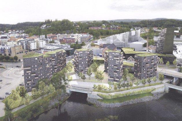 Tippen-området, slik utbygger gjerne vil se det i framtiden. Jens E. Fjeld skriver i dette innlegget at han forstår utbyggernes frustrasjon, men at det er like viktig som byutvikling å se de store sammenhengene.