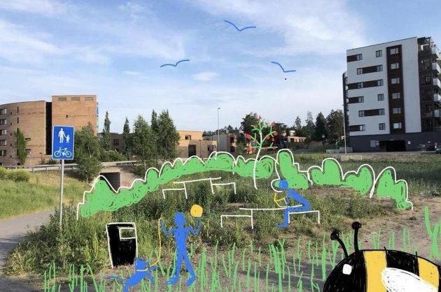 Fra kratt til park: Slik ser MDG-representanten for seg at en «popup»-park kan se ut. Her fra Thurmannskogen i Lørenskog. Foto/tegning: MDG