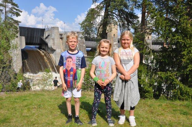 Søskenbarna Trond Martin Høvik (7,5) og Vilde (9) og Martine (6) Østberg fra Spydeberg syntes det var fascinerende å stå helt nede ved Glommas elvebredd mens vannet buldret og flommet i all sin kraft.