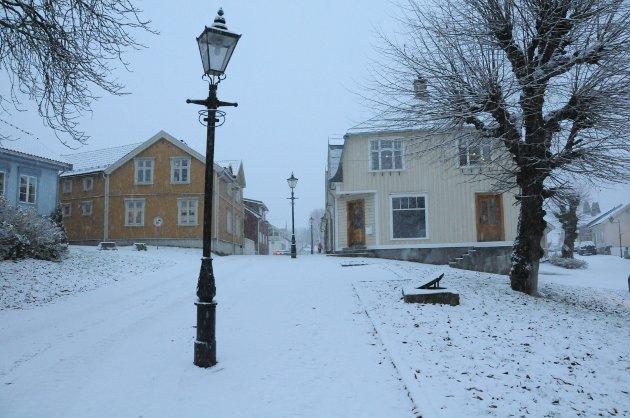 Helt hvitt i Snipetorp i Skien, tirsdag.