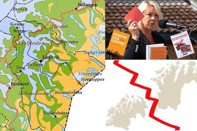 Kommunalminister Mæland har ertet på seg innbyggerne bl.a. i Ofoten og Finnmark. I Kjøpsvik fikk hun rødt kort av folket og to bøker som gave. Hun burde være den første til å lese dem begge