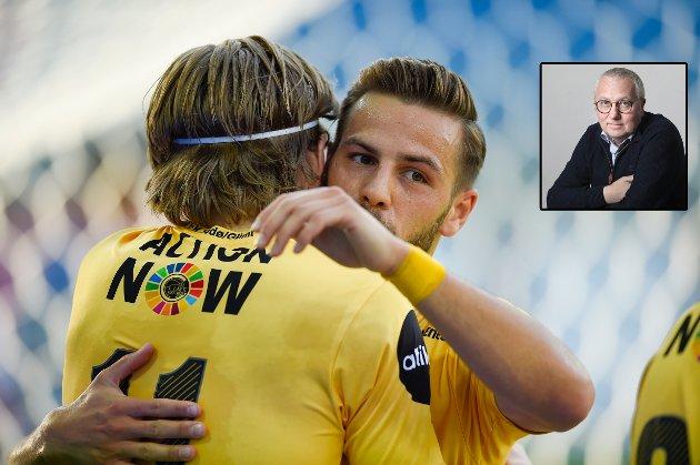 – Påfallende mange likheter mellom dagens Bodø/Glimt, her representert ved Jens Petter Hauge og Philip Zinkernagel, og fjorårets suverene seriemester i Premier League, skriver redaktør Børre Arntzen.