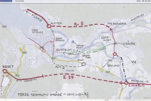 NEI TIL BRU: Det enkle er ofte det beste. Legg biltrafikken rundt Førde, ikkje tvers igjennom, skriv Marit Bendz i Naturvernforbundet. Ho støttar framlegget til Kjartan Myklebust.