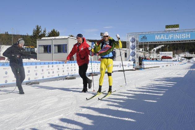 GIKK FORTEST: Martin Jonsrud Sundby var først i mål på årets Birkebeinerrenn, til tross for et stygt fall i løypa.