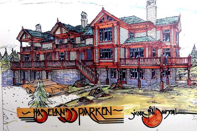 KOMPLEKSER: Det planlegges bygg med seks fritids-leiligheter i hver. Skissen er laget av Finn Sandmæl og publisert i Hadeland første gang i 2006.