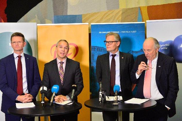 20151123. Høyre, Fremskrittspartiet, Venstre og Kristelig Folkeparti legger fram forslag til statsbudsjett for 2016 under en pressekonferanse på Stortinget mandag kveld. Foto: Jon Olav Nesvold / NTB scanpix