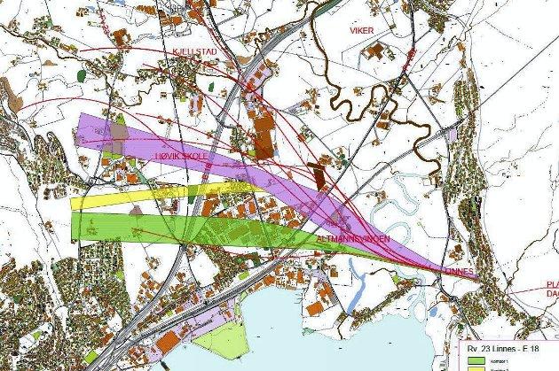 ALTERNATIVER: SVV har skissert opp disse tre mulige korridorene for å legge en ny veitrasé i en framtidig Lierdiagonal.