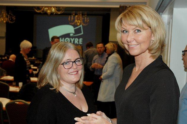 HAR BEGGE SAGT JA: Både  Hanne Velure (t.h.) og Kari-Anne Jønnes, begge medlemmer i styret og arbeidsutvalget i Innlandet Høyre, er blant toppkandidatene til nominasjonskomiteen. Anne Bjertnæs og Laila Bokhari er de to siste.