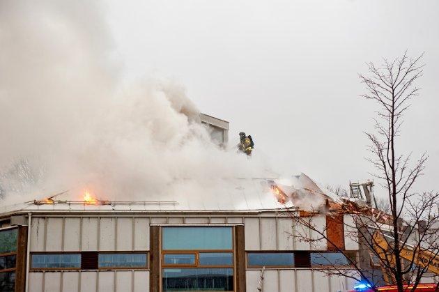 BRANNEN:  16. november var brannen i Larvik bibliotek. Nå står riving for tur.