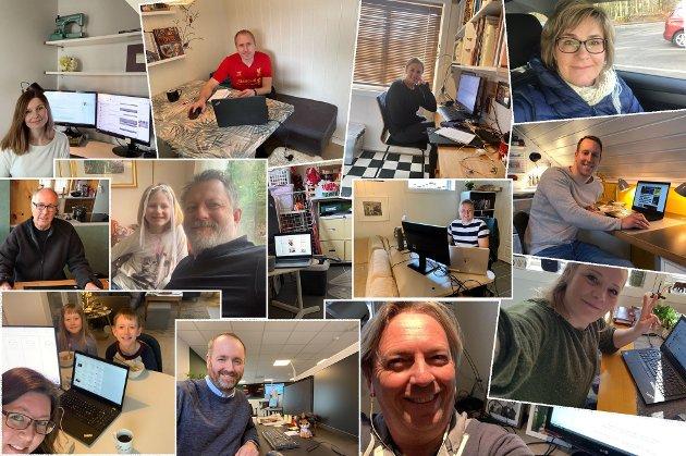 HJEMMEKONTOR: Dette bildet er tatt for ett år siden og viser flere av ØPs journalister på hjemmekontor. Det har vært et spesielt år, skriver ØPs sjefredaktør.