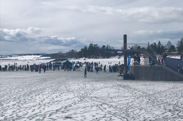 FOLKEVANDRING: Under Hamar kommunes «Ut på isen»-arrangement ble det folkevandring ut på Mjøsa. Foto: Jo E. Brenden