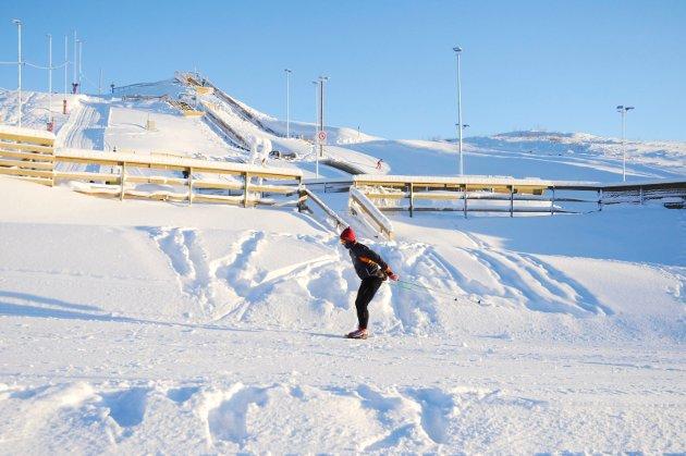 GLITRENDE FØRE: Vinterparadiset Ambslisberget skianlegg søndag 3. januar 2020.