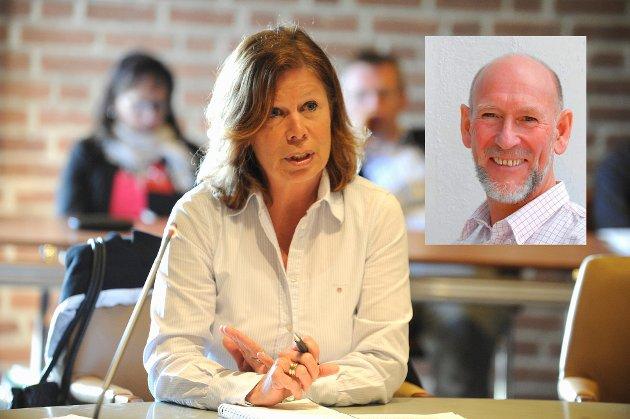 Ad hoc-utvalget får presentert partienes forslag til kutt i budsjettet.  Karin Virik (V)