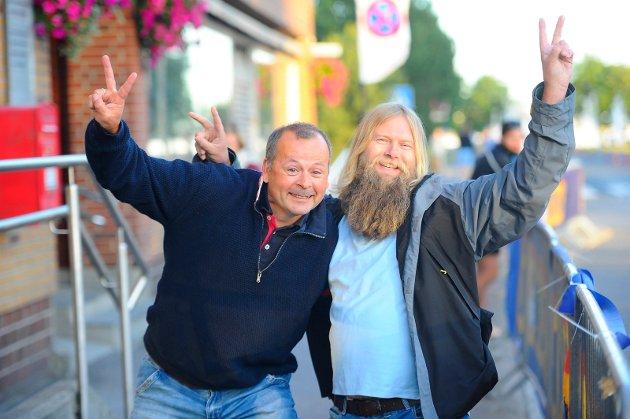 Jørund Skorge og Ken Reinertsen storkoste seg med sykkelritt i sentrum.