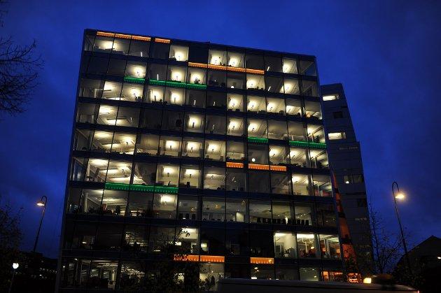 Kontorbygg i Oslo sentrum belyst. energi strøm lys (Foto: Terje Pedersen, ANB) *** Local Caption *** Kontorbygg i Oslo sentrum belyst. energi strøm lys