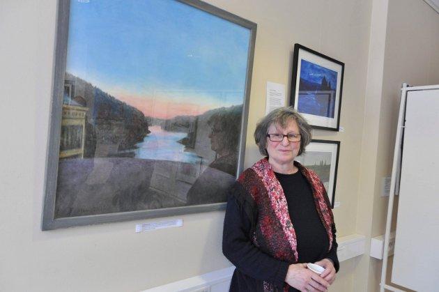 Helga Bosten har laget vakker solnedgang sett fra Solbergfoss kraftverk med kull og kritt, i tillegg andre flotte bilder fra samme område.